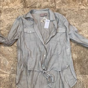 Size 1 Chico's sheer blouse  silvery grey color